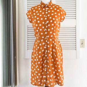 Orange and White Polka Dot Dress
